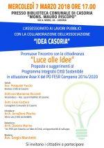 """Incontro """" Luce alle idee"""" alla biblioteca comunale di Casoria"""