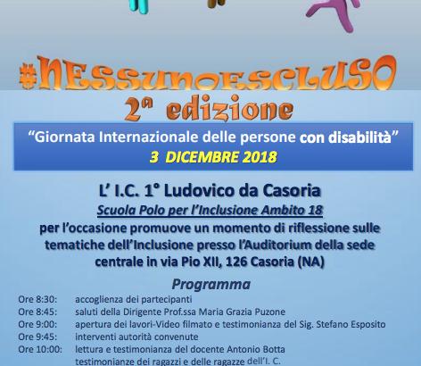 #NESSUNO ESCLUSO, IL 3 DICEMBRE LA MANIFESTAZIONE PER LA «GIORNATA INTERNAZIONALE DELLE PERSONE CON DISABILITA'»