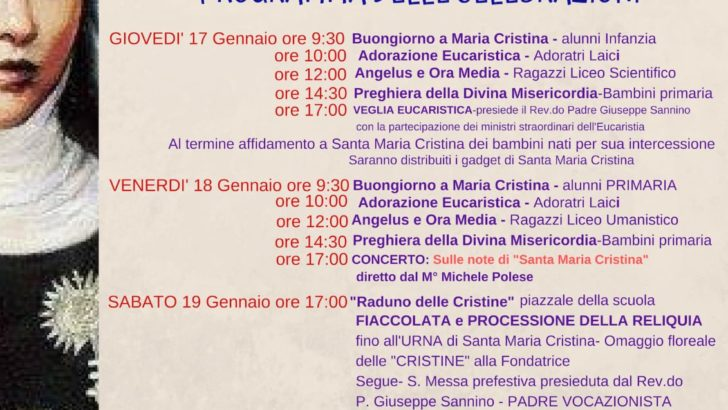 Triduo in onore di Santa Maria Cristina Brando